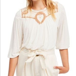 FREE PEOPLE▪️Begonia Embroidered Top. L